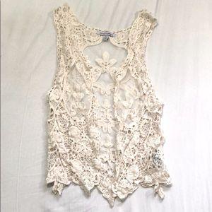 NWOT lace crochet vest